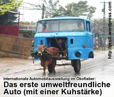 Internationale Automobilausstellung im Ökofieber: Erstes umweltfreundliches Auto vorgestellt (mit einer Kuhstärke)
