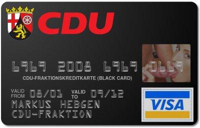 Die Kreditkarte der CDU-Fraktion, ausgestellt auf Markus Hebgen