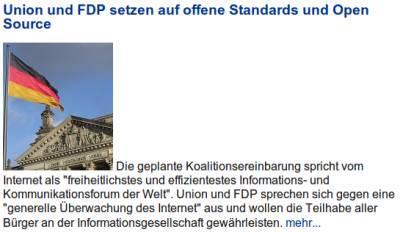 Union und FDP setzen auf offene Standards und Open Source - Die geplante Koalitionsvereinbarung spricht vom Internet als freiheitlichstes und effizientestes Kommunikationsforum der Welt...