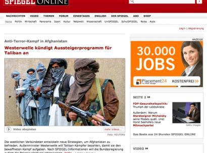 Westerwelle kündigt Aussteigerprogramm für Taliban an / daneben Werbung: 30000 neue Jobs