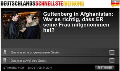 Deutschlands schnellste Meinung -- Guttenberg in Afghanistan: War es richtig, dass ER seine Frau mitgenommen hat? -- Das war eine angemessene Geste -- Das war zuviel des Guten