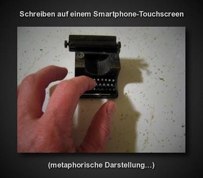 Schreiben auf einem Smartphone-Touchscreen (metaphorische Darstellung...)