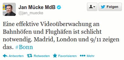 Eine effektive Videoüberwachung an Bahnhöfen und Flughäfen ist schlicht notwendig. Madrid, London und 9/11 zeigen das. #Bonn