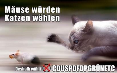 Mäuse würden Katzen wählen. Deshalb wählt CDUSPDFDPGRÜNETC