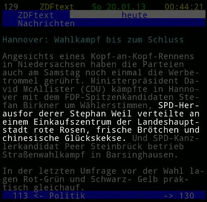ZDF-Text: SPD-Herausforderer Stephan Weil verteilte an einem Einkaufszentrum der Landeshauptstadt rote Rosen, frische Brötchen und chinesisiche Glückskekse