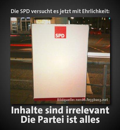 Die SPD versucht es jetzt mit Ehrlichkeit: Inhalte sind irrelevant, die Partei ist alles