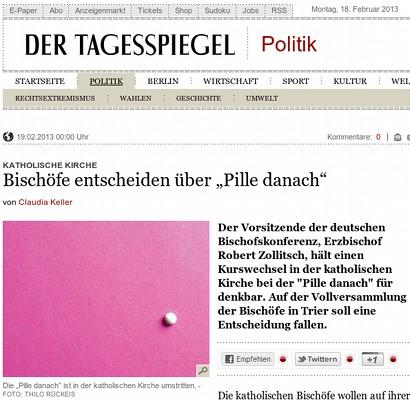 Der Tagesspiegel -- Schlagzeile -- Katholische Kirche: Bischöfe entscheiden über die Pille danach