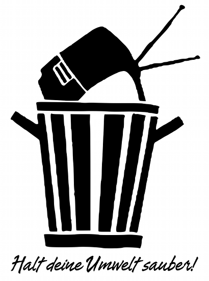 Halt deine Umwelt sauber! (Fernseher in der Mülltonne)