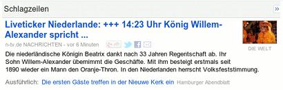 Liveticker Niederlande +++ 14:23 Uhr König Wilem-Alexander spricht