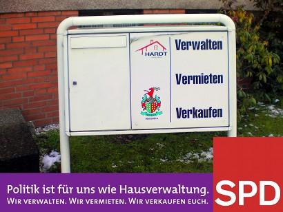 Politik ist für uns wie Hausverwaltung. Wir verwalten. Wir vermieten. Wir verkaufen euch. SPD