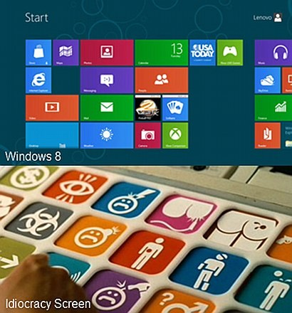 Vergleich der Fliesen-Oberfläche von Windows 8 mit einer Nutzerschnittstelle aus Idiocracy