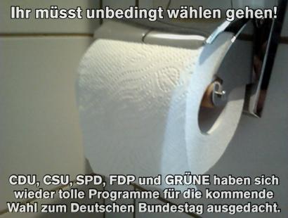 Ihr müsst unbedingt wählen gehen! CDU, CSU, SPD, FDP und GRÜNE haben sich wieder tolle Programme für die kommende Wahl zum Deutschen Bundestag ausgedacht.