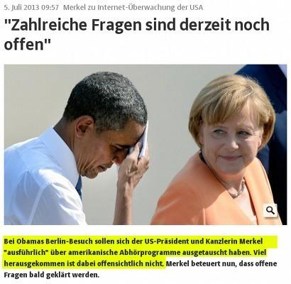 Bei Obamas Berlin-Besuch sollen sich der US-Präsident und Kanzlerin Merkel 'ausführlich' über amerikanische Abhörprogramme ausgetauscht haben. Viel herausgekommen ist dabei offensichtlich nicht.