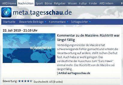 Screenshot Tagesschau.de -- Kommentar zu de Maizière: Rücktritt war längst fällig