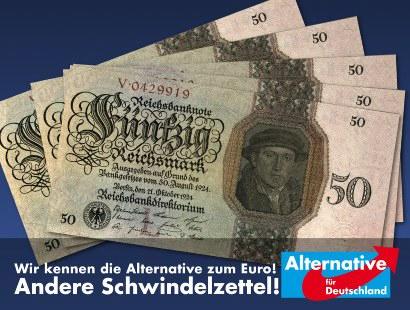 Bild von Reichsmark-Banknoten aus den Zwanziger Jahren -- Wir kennen die Alternative zum Euro! Andere Schwindelzettel! -- Alternative für Deutschland