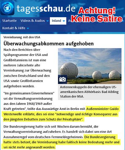 Vereinbarung mit den USA -- Überwachungsabkommen aufgehoben -- Nach den Berichten über Spähprogramme der USA und Großbritanniens ist nun eine mehrere Jahrzehnte alte Vereinbarung zur Überwachung zwischen Deutschland und den USA sowie Großbritannien aufgehoben worden. -- 'Im gemeinsamen Einvernehmen' sei die Verwaltungsvereinbarung aus den Jahren 1968/1969 außer Kraft getreten', teilte das Auswärtige Amt in Berlin mit. Außenminister Guido Westerwelle erklärte, dies sei eine 'notwendige und richtige Konsequenz aus den jüngsten Debatten zum Schutz der Privatsphäre'. -- Die Bundesregierung hatte sich seit Wochen darum bemüht, die Verwaltungsvereinbarung aufzuheben. Es handelt sich dabei um eine Art Ausnahmeregel vom deutschen Fernmeldegeheimnis. Die Bundesregierung hatte stets betont, die Vereinbarung habe faktisch keine Bedeutung mehr und sei nicht mehr angewandt worden.