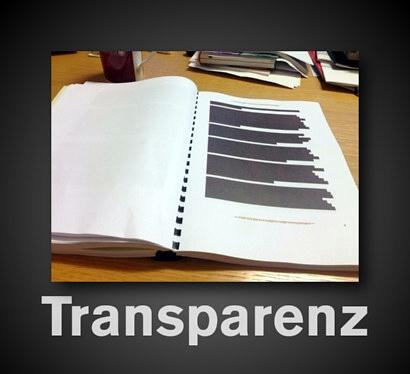 Transparenz -- ein Bild eines völlig geschwärzten Dokumentes der NSA