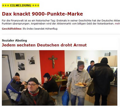 Dax knackt 9000-Punkte-Marke / Jedem sechsten Deutschen droht Armut