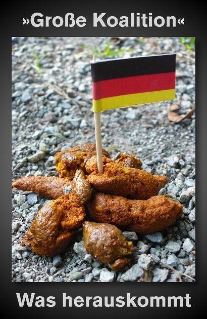 Große Koalition: Was herauskommt -- Bild eines Hundehaufens, in dem ein schwarz-rot-goldene Cocktailfähnchen steckt