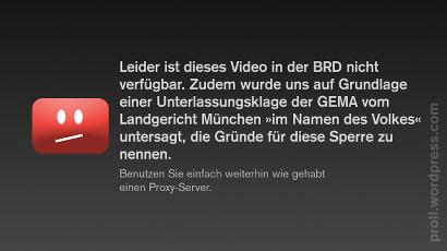 Leider ist dieses Video in der BRD nicht verfügbar. Zudem wurde uns auf Grundlage einer Unterlassungsklage der GEMA vom Landgericht München 'im Namen des Volkes' untersagt, die Gründe für diese Sperre zu nennen. Benutzen Sie einfach weiterhin wie gehabt einen Proxy-Server!