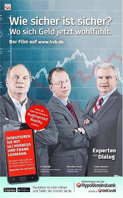 Werbung der HypoVereinsbank mit Uli Hoeneß: Wie sicher ist sicher? Wo sich Geld jetzt wohlfühlt.