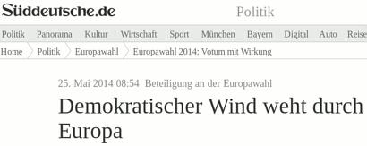 Schlagzeile sueddeutsche.de -- Beteiligung an der Europawahl: Demokratischer Wind weht durch Europa
