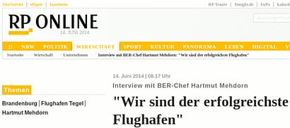 Screenshot von RP-Online. Die Schlagzeile lautet: Interview mit BER-Chef Hartmut Mehdorn -- 'Wir sind der erfolgreichste Flughafen'