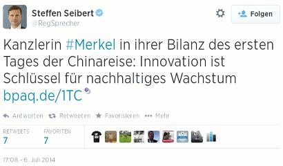 Tweet von @RegSprecher, das ist Regierungssprecher Steffen Seibert (ZDF): Kanzlerin #Merkel in ihrer Bilanz des ersten Tages der Chinareise: Innovation ist Schlüssel für nachhaltiges Wachstum