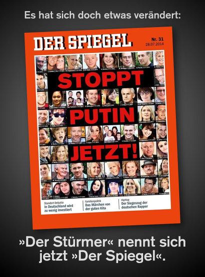 Aktuelle Spiegel-Titelseite mit den Opfern des Abschusses des Fluges MH 17 und dem Text 'STOPPT PUTIN JETZT!'