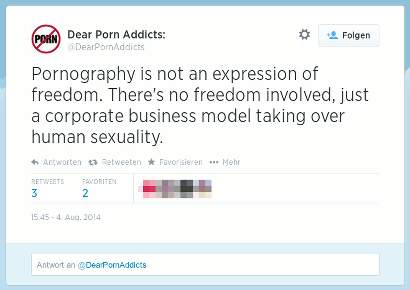Tweet von @DearPornAddicts -- Pornography is not an expression of freedom. There's no freedom involved, just a corporate business model taking over human sexuality