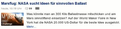 Marsflug: NASA sucht Ideen für sinnvollen Ballast -- Was könnte man an 300 Kilo Ballastmasse mitschicken und am Mars sinnstiftend einsetzen? Auf der World Maker Faire in New York hat die NASA 20.000 US-Dollar für die beste Idee ausgelobt.