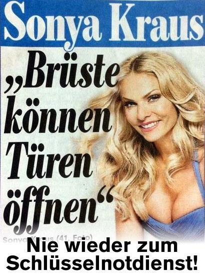 Bildzeitung: Sonya Kraus: Brüste können Türen öffnen -- Nie wieder zum Schlüsselnotdienst!