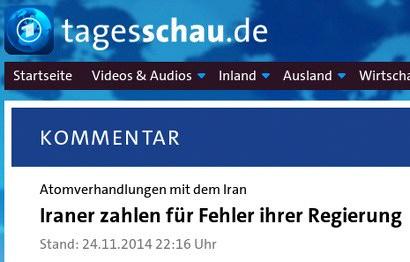 Screenshot tagesschau.de -- Kommentar -- Atomverhandlungen mit dem Iran: Iraner zahlen für Fehler ihrer Regierung