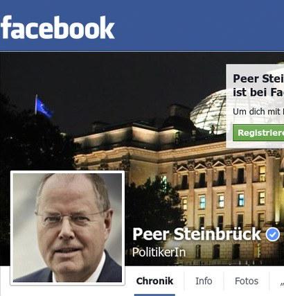 Detail aus dem bestätigten Facebook-Profil: Peer Steinbrück, PolitikerIn