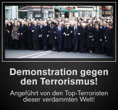 Pressefoto der Spizenpolitiker, die in Paris wegen des Anschlages auf Charlie Hebdo demonstrieren -- Demonstration gegen den Terrorismus! Angeführt von den Top-Terroristen dieser verdammten Welt!