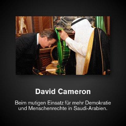 David Cameron beim mutigen Einsatz für mehr Demokratie und Menschenrechte in Saudi-Arabien