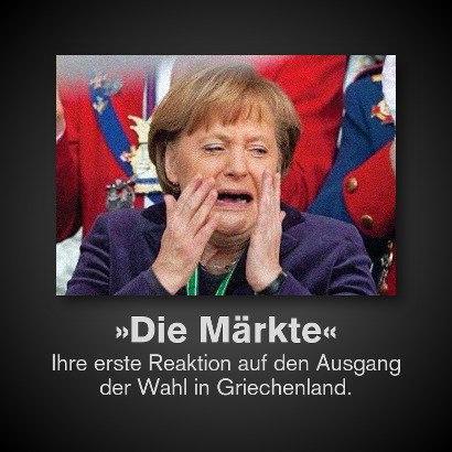Schnappschuss von Angela Merkel mit einem scheinbar von Entsetzen geprägten Gesicht -- 'Die Märkte' -- Ihre erste Reaktion auf den Ausgang der Wahl in Griechenland