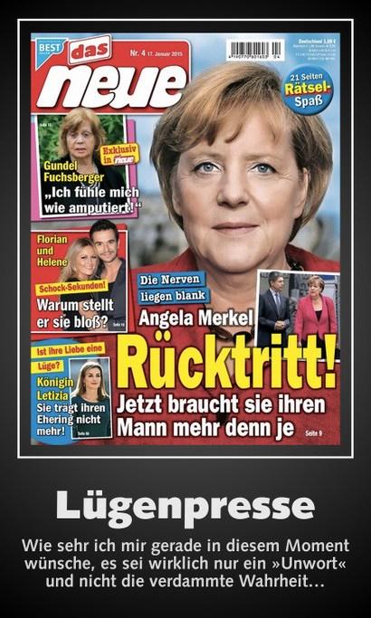 Frauenzeitschrift 'das neue' mit ihrer Titelseite. Bild von Angela Merkel. Darunter: 'Die Nerven liegen blank. Angela Merkel: Rücktritt. Jetzt braucht sie ihren Mann mehr denn je' -- Lügenpresse -- Wie sehr ich mir gerade in diesem Moment wünsche, es sei wirklich nur ein 'Unwort' und nicht die verdammte Wahrheit...