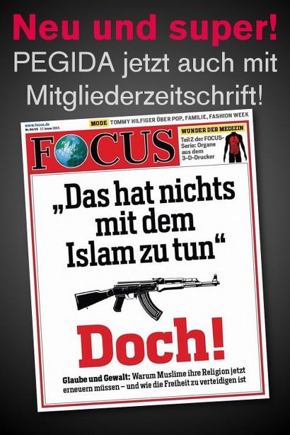 Aktuelle Focus-Titelseite: 'Das hat nichts mit dem Islam zu tun!', darunter Bild einer AK-47, darunter 'Doch! - Glaube und Gewalt: Warum Muslime ihre Religion jetzt erneuern müssen und wie die Freiheit zu verteidigen ist