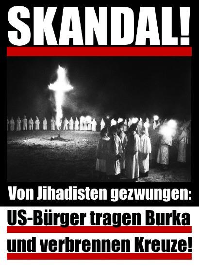 SKANDAL! -- Foto einer Versammlung des Ku-Klux-Klan in voller Montur um ein brenndes Kreuz -- Von Jihadisten gezwungen: US-Bürger tragen Burka und verbrennen Kreuze!