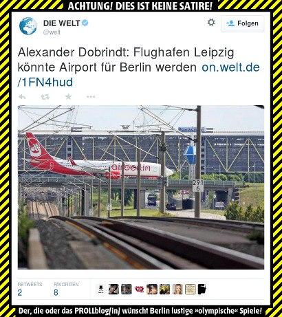 Tweet von @welt -- Alexander Dobrindt: Flughafen Leipzig könnte Airport für Berlin werden