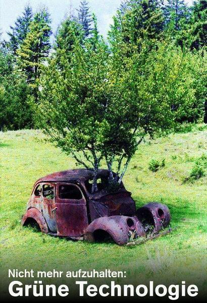 Foto eines alten, stark korrodierten Peugeot, in dem ein Baum wächst -- Nicht mehr aufzuhalten: Grüne Technologie