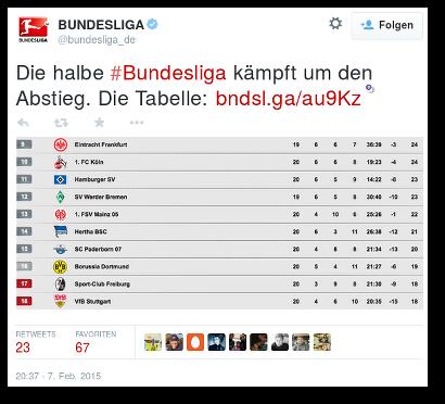 Tweet von @bundesliga_de: Die halbe #Bundesliga kämpft um den Abstieg...