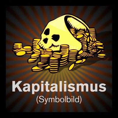 Zeichnung: Ein Totenschädel, gefüllt mit und umgeben von Goldmünzen. Dazu der Text: 'Kapitalismus (Symbolbild)'