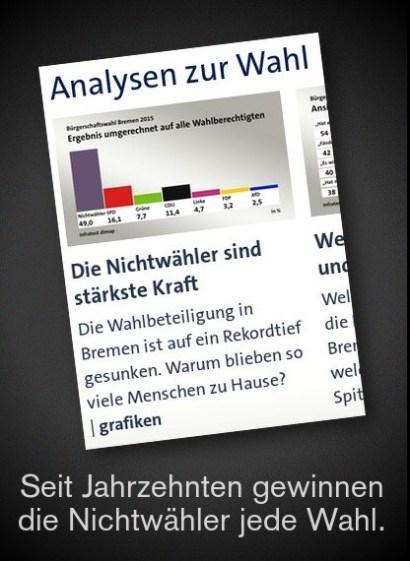 Screenshot Überschrift tagesschau.de: Die Nichtwähler sind stärkste Kraft -- Seit Jahrzehnten gewinnen die Nichtwähler jede Wahl