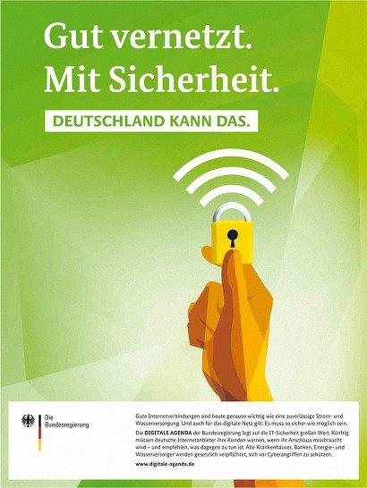 Plakat der Bundesregierung: Gut vernetzt. Mit Sicherheit. Deutschland kann das.