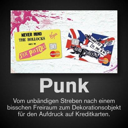 Foto von MasterCard-Kreditkarten mit Sex-Pistols-Aufdruck -- Punk -- Vom unbändigen Streben nach einem bisschen Freiraum zum Dekorationsobjekt für den Aufdruck auf Kreditkarten.