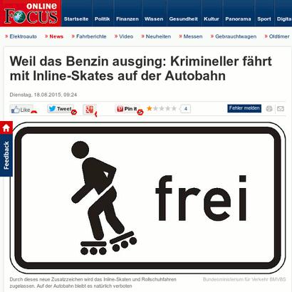 Screenshot Focus Online mit der Überschrift: 'Weil das Benzin ausging: Krimineller fährt mit Inline-Skates auf der Autobahn'.