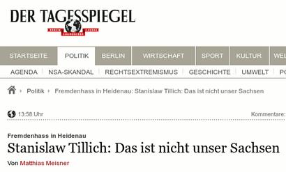 Schlagzeile 'Der Tagesspiegel' -- Fremdenhass in Heidenau: Stanislaw Tillich: Das ist nicht unser Sachsen