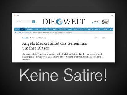Schlagzeile auf der Website der springerschen Welt: Angela Merkel lüftet das Geheimnis um ihre Blazer